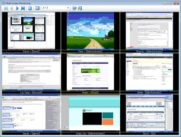 Monitoring multiple computers, capture realtime screenshots