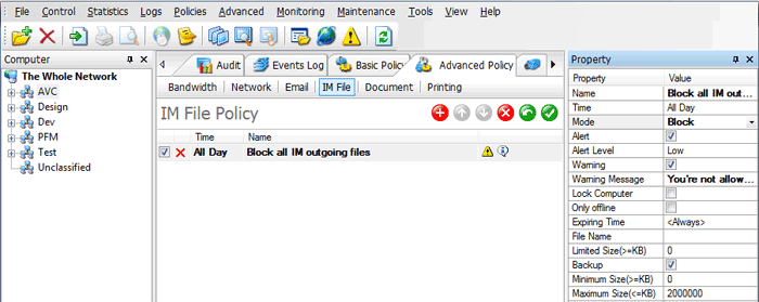 Block IM File Policy