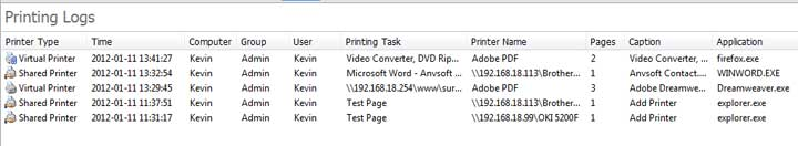 Search Printing Logs and Track Printer Usage